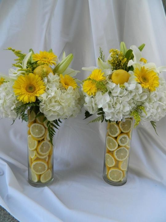 Hydrangeas and gerber daisies with lemons engagement