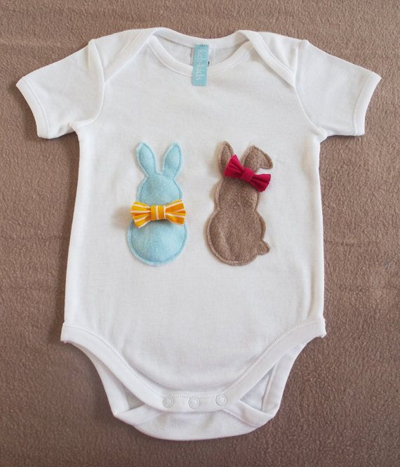 Your baby will love this colourful Easter Bunnies onesie with adorable boy and girl bunnies with bows.  Available at keb4kids on Etsy