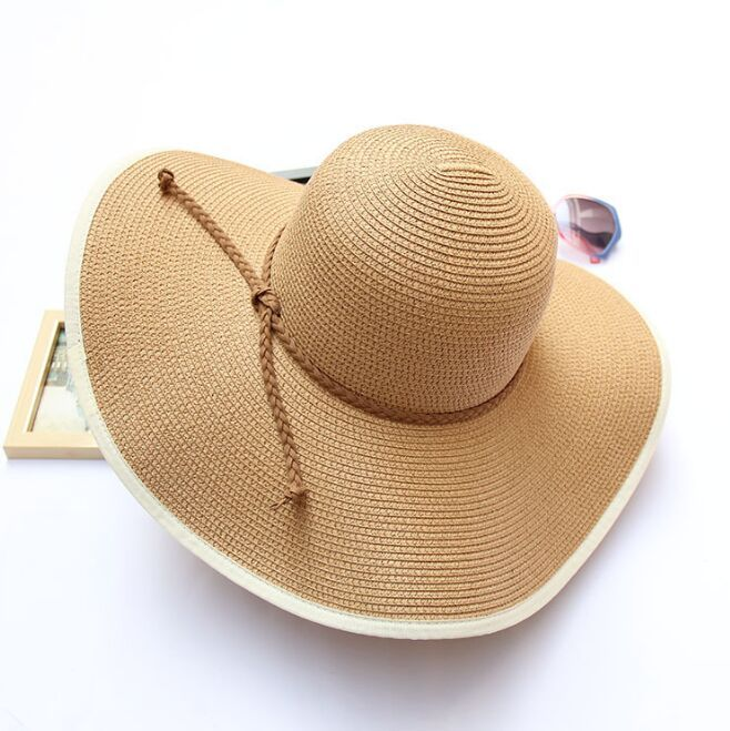 2ec163b0620 FUFAN001 Summer Women's Casual Brimmed Sun Straw Hats Visor Women Large Brim  Sunshade Beach Caps Sombrer