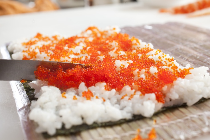 #sushi, #seaweed,  #rice with red flying fish roe