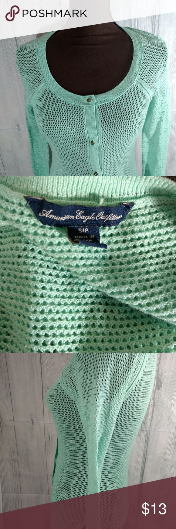 American Eagle size medium knit sweater Super cute from American Eagle Outfitters! Beautiful Robin's egg blue color Button front Knit sweater Size is medium American Eagle Outfitters Sweaters Cardigans #americaneagleoutfitters