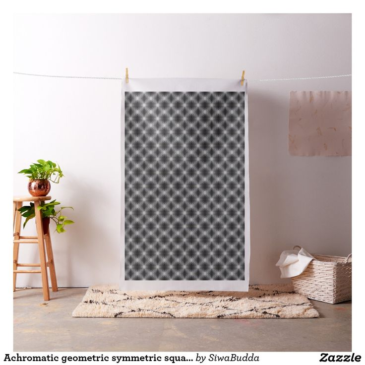 Achromatic geometric symmetric square tile Fabric