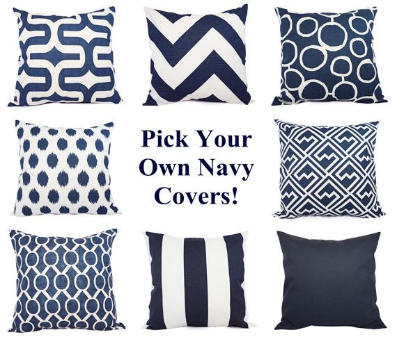 Two Navy and White Pillow Covers - 16 x 16 Inch Navy Blue Throw Pillow Cover - Decorative Pillow Cushion Cover Navy Blue Pillows on Etsy, $36.45