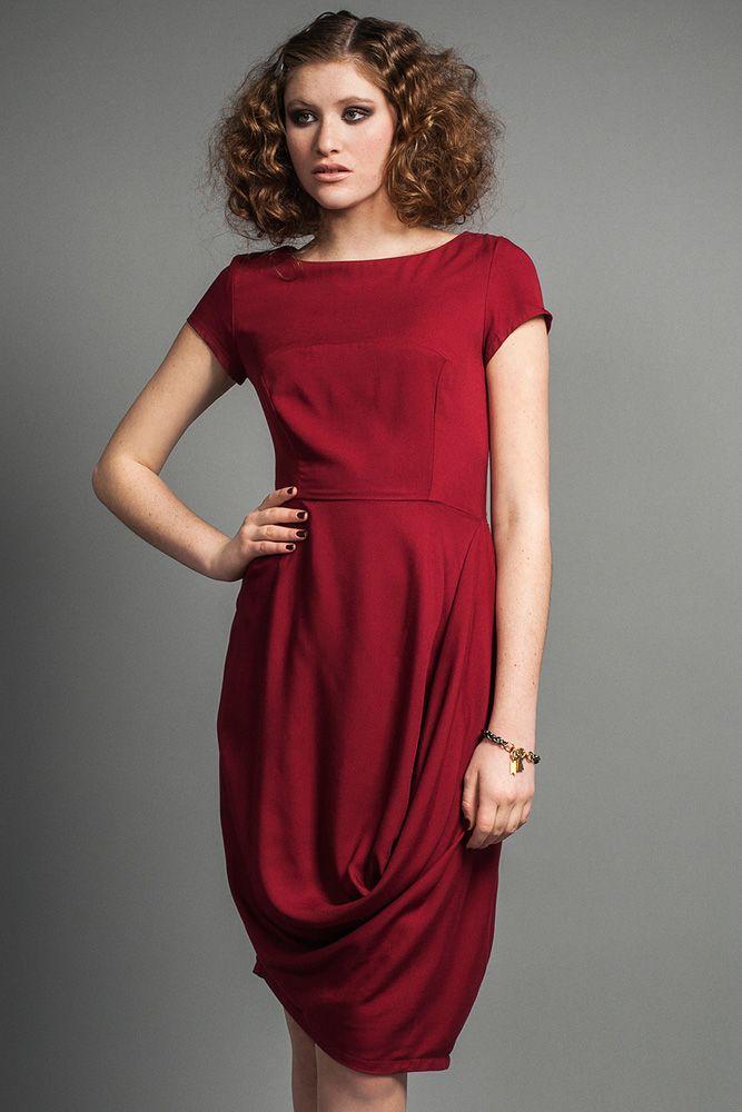 Irina Dress by Jennifer Glasgow.  Draped short sleeve dress.  Made in Canada.