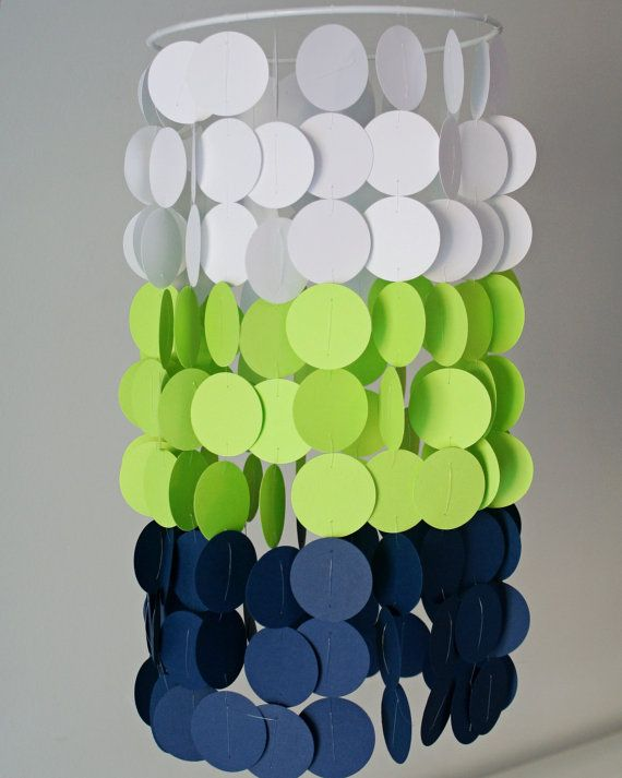 Neon Green Navy and White Paper Crib Mobile by FourGlitteredGeese, $38.00