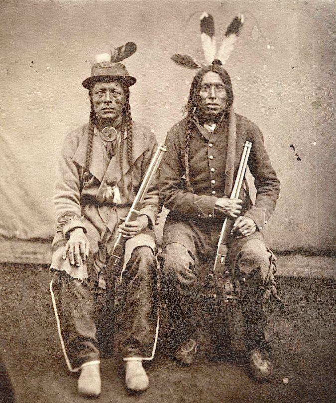 Montana Native Plants: Bob Tail Bull-left Two Men. Ca. 1868-1881. Montana. Photo