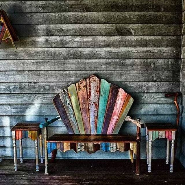 Funky porch furniture made from salvage wood, shred from Hip and Humble Home