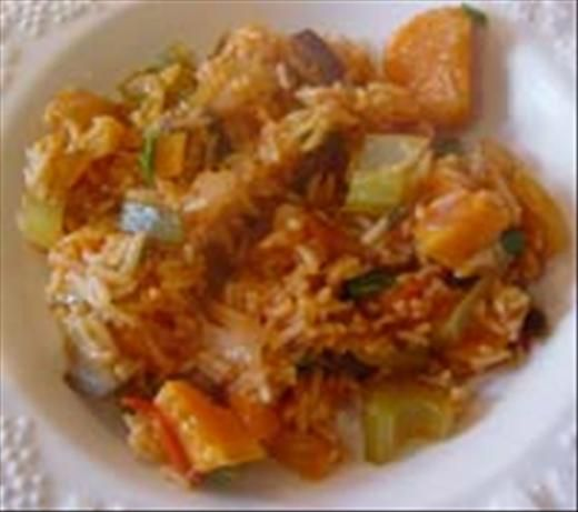 Creole-Style Vegetarian Jambalaya from Food.com: This is a pretty good recipe and using eggplant in this dish is a good idea. This dish has lots of room for you to improvise and create your own jambalaya. This recipe is Creole-style, with a tomato base, but you may omit the tomato paste and tomatoes if you want country-style jambalaya. Serve with a salad and ice cold beer.
