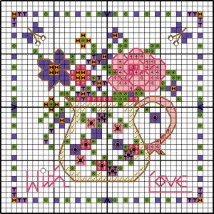 Floral cross stitch card chart