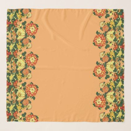 Japanese Flower Border Mandarin Orange and Gold Scarf - accessories accessory gift idea stylish unique custom