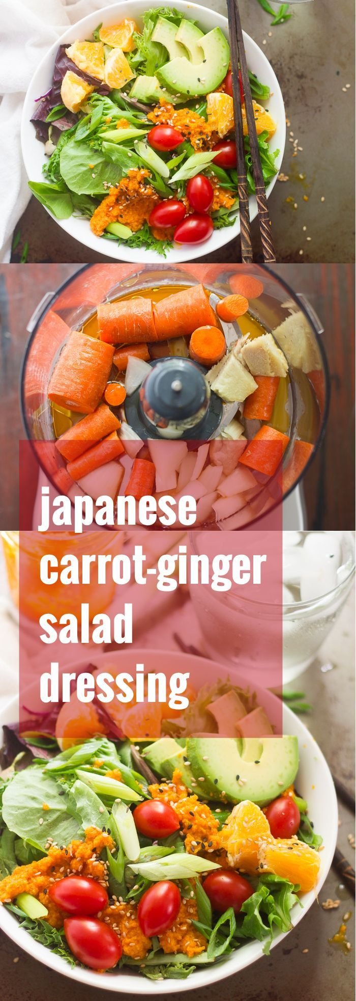 Fresh greens and juicy orange slices are tossed on a creamy carrot ginger dressing to create this healthy and refreshing Japanese-inspired salad.