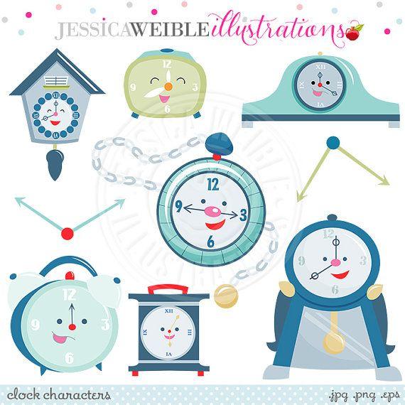 Clock Characters Cute Digital Clipart - Commercial Use OK - Cute Clock Clipart, Clock Graphics, Tick Tock