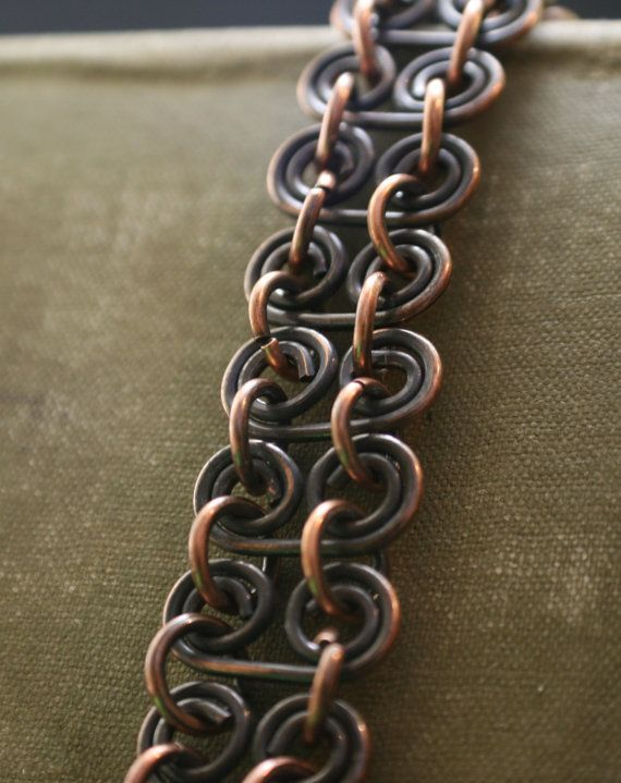 Antique Copper Link Bracelet, Copper Bike Link bracelet was first originally done in silver filled. Folder Bracelets: https://www.etsy.com/shop/TwistdbyDesign?section_id=14735018&ref=shopsection_leftnav_4 A Huge response so thought I would make it in copper. I think I love this copper Bike Chain Bracelet better than silver. Antique patina to define those curls, hand-buffed and sealed with renaissance wax  Each link hand made to create, Bike Chain Bracelet MY ...