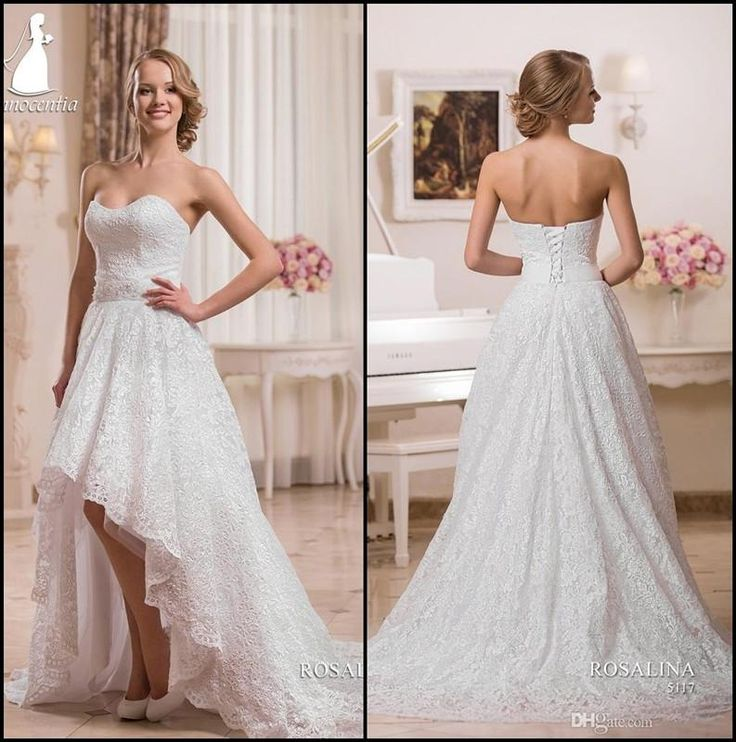 Great A Line Sleeveless Wedding Dress Appliques Sweetheart Bridal Gowns White Lace High Low
