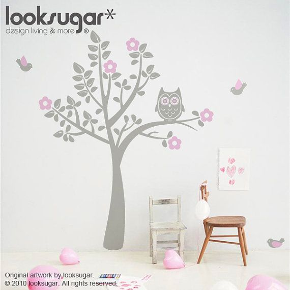 Children Wall Decal - Bird Tree Decal - Owl Tree Wall Art for Baby Nursery - 0039 on Etsy, $84.96 CAD