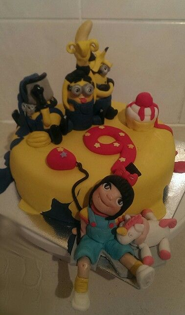 minions birthday cake..by julies out of the box cakes.