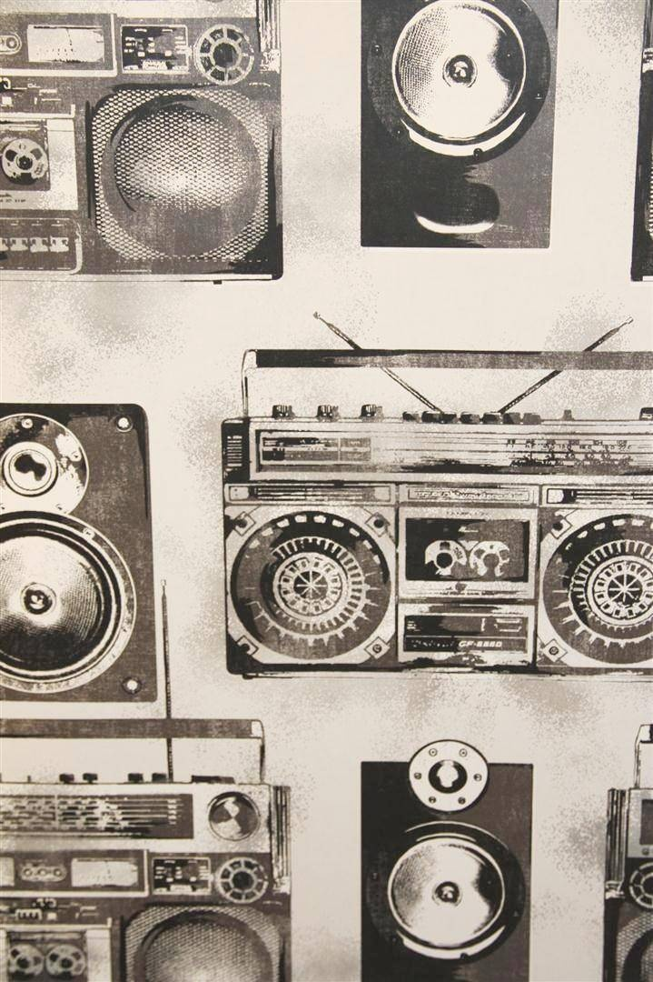 Ghetto Blasters - Silver - audio - music - behang