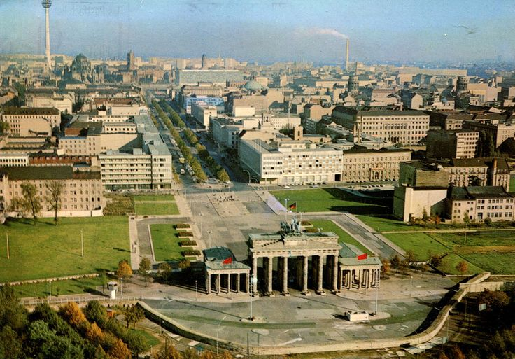 A postcard showing the center of Berlin from the air in 1970, mostly what was then the heart of East Berlin. Best viewed large or original size.
