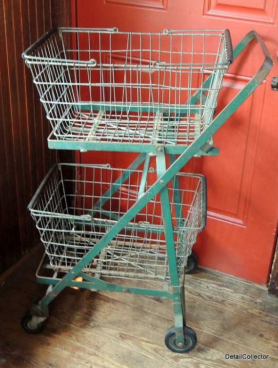 Vintage FOLDING CART Industrial 2 Wire Baskets By