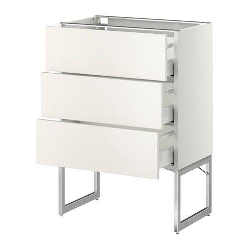 METOD / MAXIMERA Benkeskap 3 fronter/3 med skuffer - hvit, Veddinge hvit, 60x37x60 cm - IKEA 1 stk, 3 skuffer