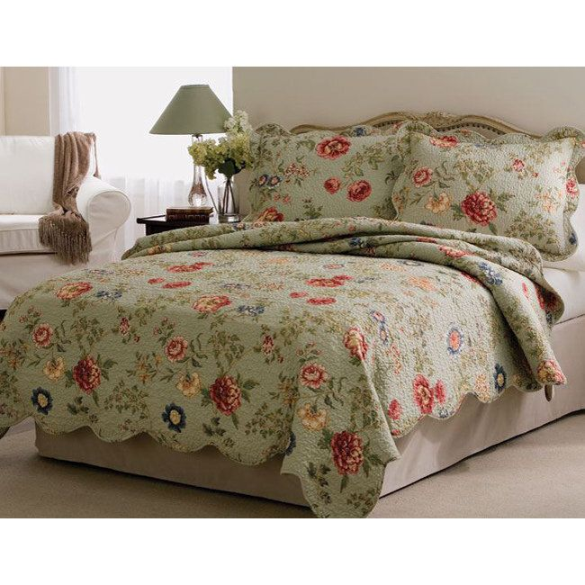 Eden's Garden' 3-Piece Queen Size Quilt Set in Size Queen