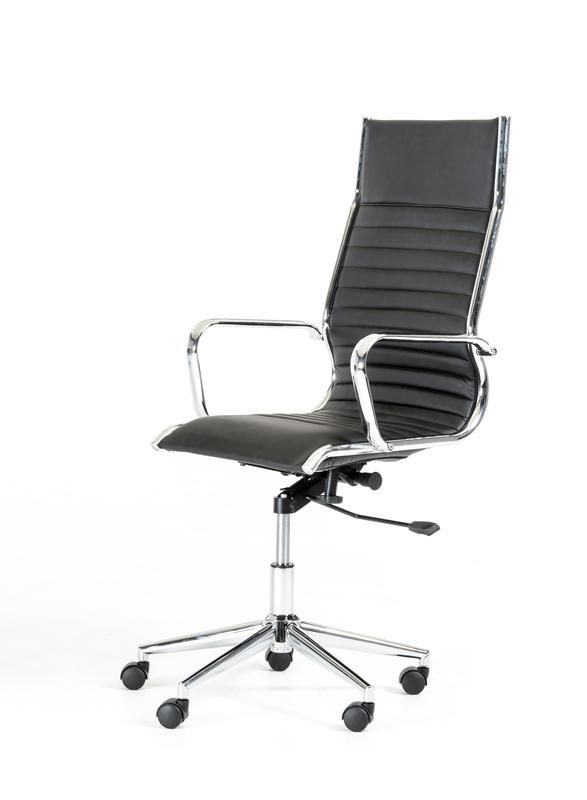 Modrest Madison Modern Black Leatherette Office Chair. Use the Madison Office Chair in your home or work office to add a contemporary vibe. The sleek composition of the Madison is magnificent with the black leatherette seat with ribbing paired with the stainless steel frame and star base. Key features include stationary armrests, tilt control, height adjustability and swivel capabilities. This ergonomically designed chair is eco-friendly and CARB compliant, making it a healthy choice for…