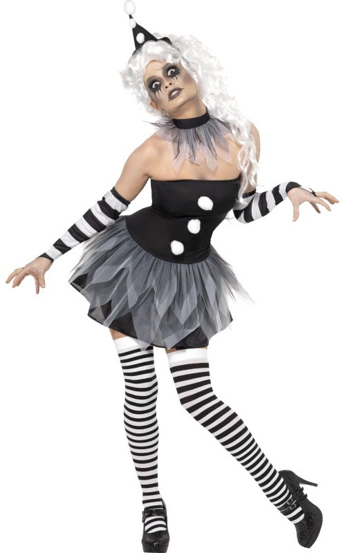 Sinister Pierrot Clown Halloween Fancy Dress Party Costume + Tights + Facepaint | eBay