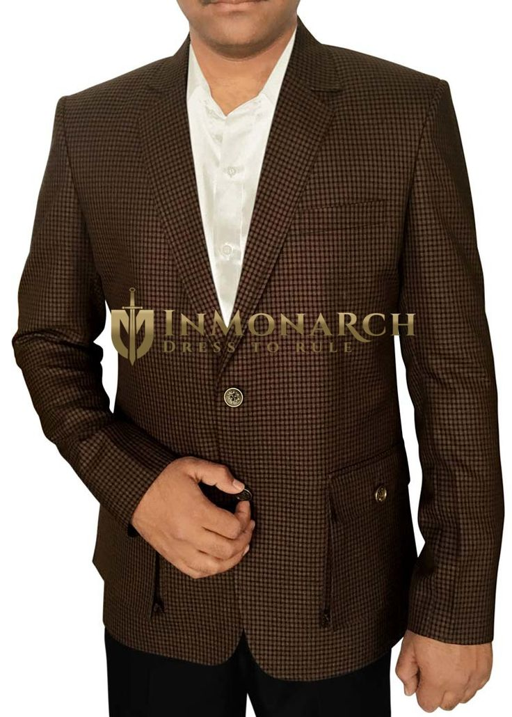Mens Brown Blazer Small Shepherd's Check