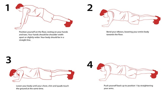The push-up is a classic body weight exercise that targets the push muscles of the upper body. Targets: Arms, chest, shoulders