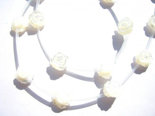 rose flowers carved milk white natural mother of pearl shell bead 8mm