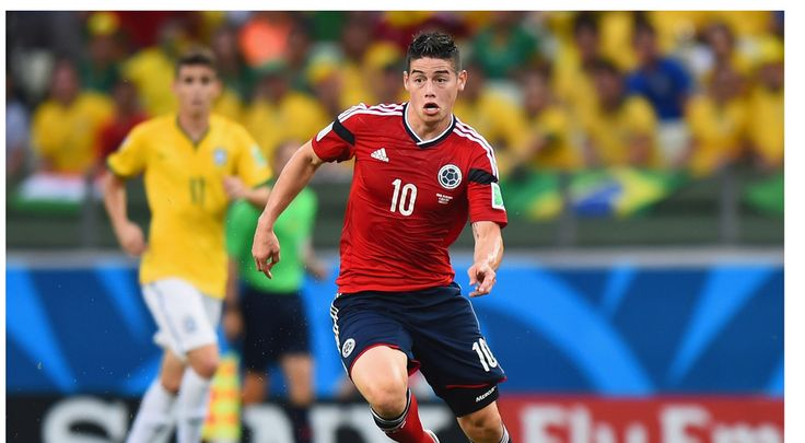 James Rodriguez of Colombia controls the ball