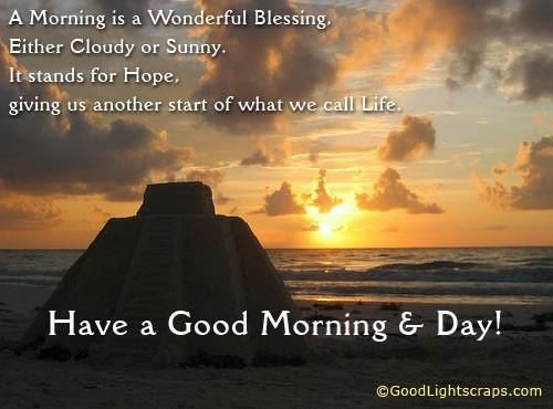 Blessed Morning Quotes | morning is a wonderful blessing ; Either cloudy or sunny ,It stands ...