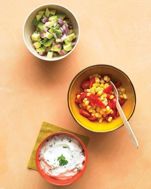 Game Day Salsas and Dips // Corn-and-Tomato Salsa Recipe: Food Recipes, Avocado R Onions, Red Onions, Relish Recipes, Corn And Tomatoes Salsa, Grilled Food, Onions Relish, Beef Tacos, Cilantro Lim Crema