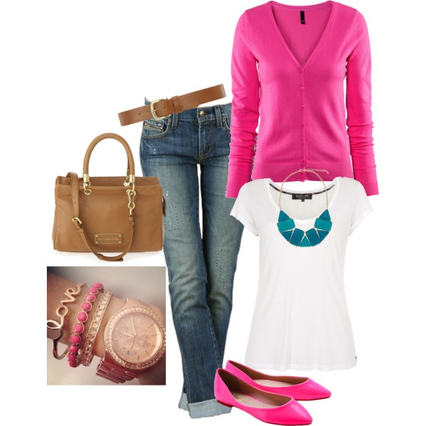 Hot pink.....created by yjmunson on Polyvore: Colors Combos, Outfits Fashion, Pretty In Pink, Pink Casual, Hot Pink, Clothing Outfits, Pink Blue, Cool Outfits, Clothing Shoes Hair