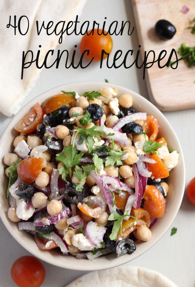 40 vegetarian picnic recipes - loads of ideas that are perfect for picnics and BBQs!