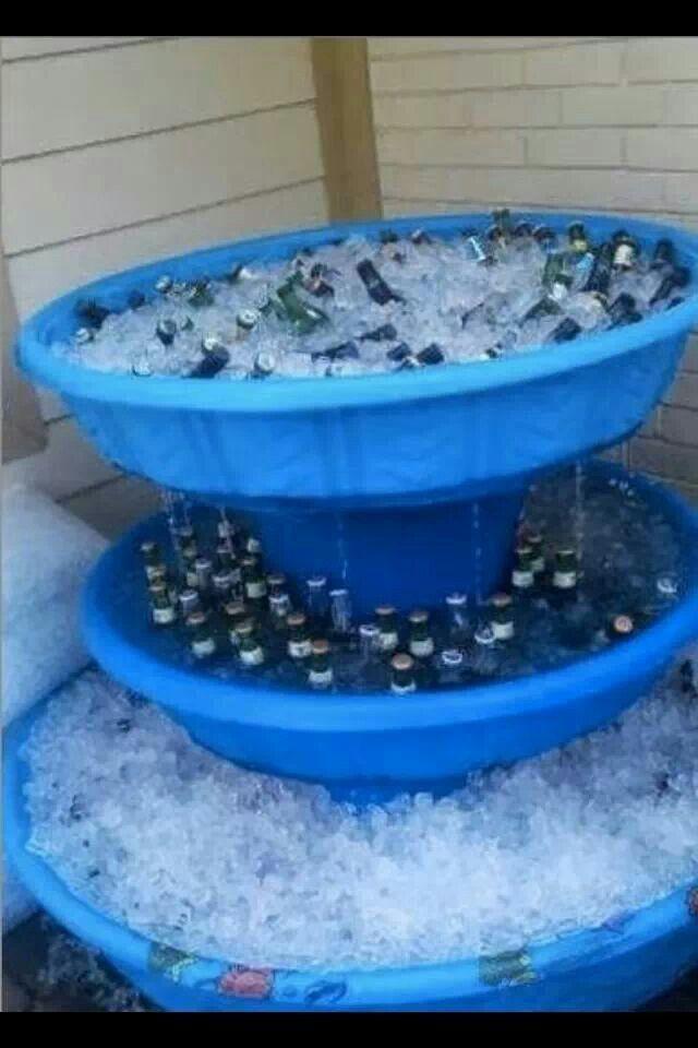 Pool beer fountain.