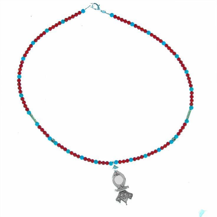 Collier croix du sud en argent et agate et turquoise pour homme et femme de chez la marque Laoula
