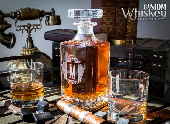Groomsmen Gift Whiskey Decanter Engraved Whiskey Decanter Personalized Decanter Set With 2 Glasses Wedding Gift Gift For Men Whiskey Decanter Decanter Whiskey