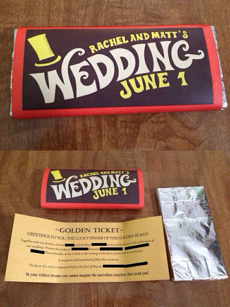 Awesome unique wedding invite idea! Chocolate bar golden ticket. Not something for me, but maybe spam for Hawaii? Ha!