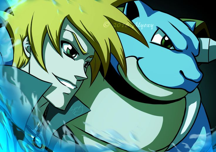 Gary and Blastoise - Pokemon