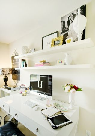 Home office decor idea - Simple shelving above the desk to keep it light but also interesting