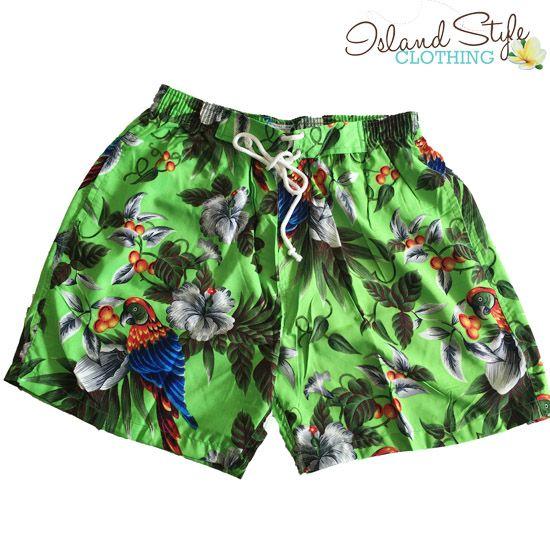 Green Magnum - Parrots & Floral Pattern - Mens Hawaiian Boardshorts