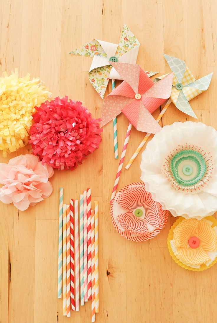 pretty party decor {stevie pattyn for shop sweet lulu}...tissue paper flowers and fringe, paper pinwheels, coffee filter + cupcake liner flowers
