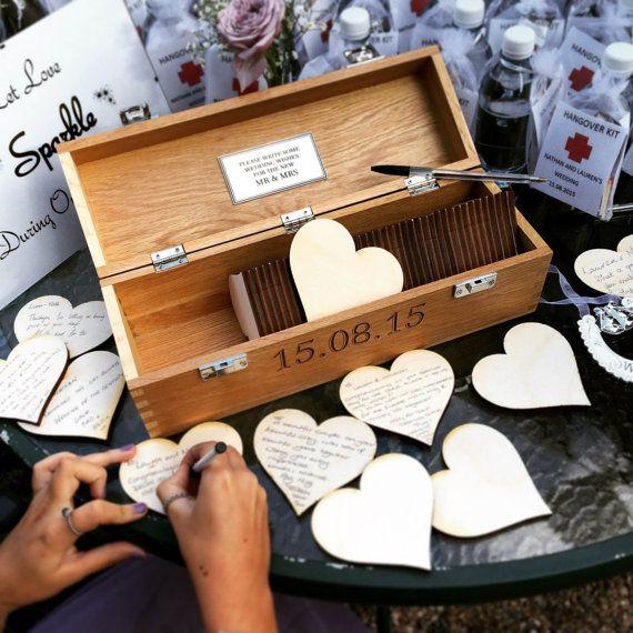 Wedding guest book Alternative Wooden Wedding Guest Book Personalised Custom Solid Oak Box. Wedding Gift