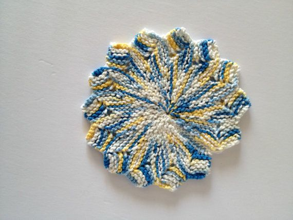 Hand Knit, Star Shaped, 100% Cotton Dishcloth/Trivet/Potholder (Blue, Yellow, & Cream)