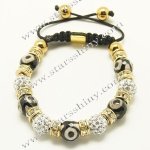 Shamballa Bracelet, 10mm round clay clear rhinestone & Tibetan agate beads        Item No.:SN014745      Shop price: US$4.24 - US$4.99