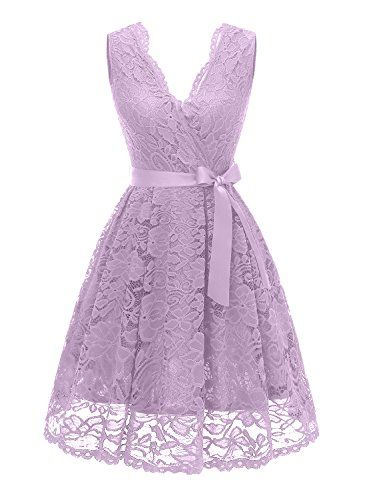 6d1489af8dbb6 EastLife Women's Short Vintage Floral Lace Dress V-Neck Sleeveless Belt  Bridesmaid Party Cocktail Dress