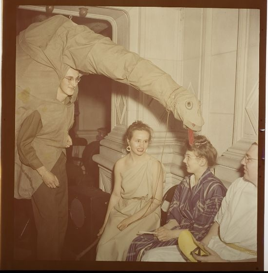 Some costume ideas from Jack Gould's photography. Image: Jack Gould, Untitled (people in costume at Beaux Arts Ball, man in dinosaur suit), c. 1950, Harvard Art Museums/Fogg Museum.