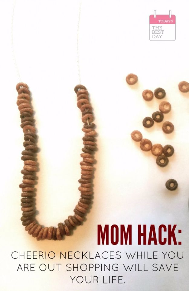 32 DIY Parenting Hacks - Cheerio Necklaces - Brilliant Parenting Hacks, Tips And Tricks That Will Make Parenting Easier, Parenting Made Fun, Genius Parenting Hacks Every Parent Should Know, Best Parenting Hacks, Extremely Clever Parenting Hacks http://diyjoy.com/diy-parenting-hacks