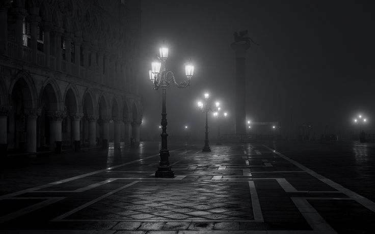 General 1920x1200 night Venice Italy Europe street light town square building architecture old building lights monochrome